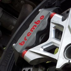 Spacers for brake calipers made of ergal useful for mounting larger discs